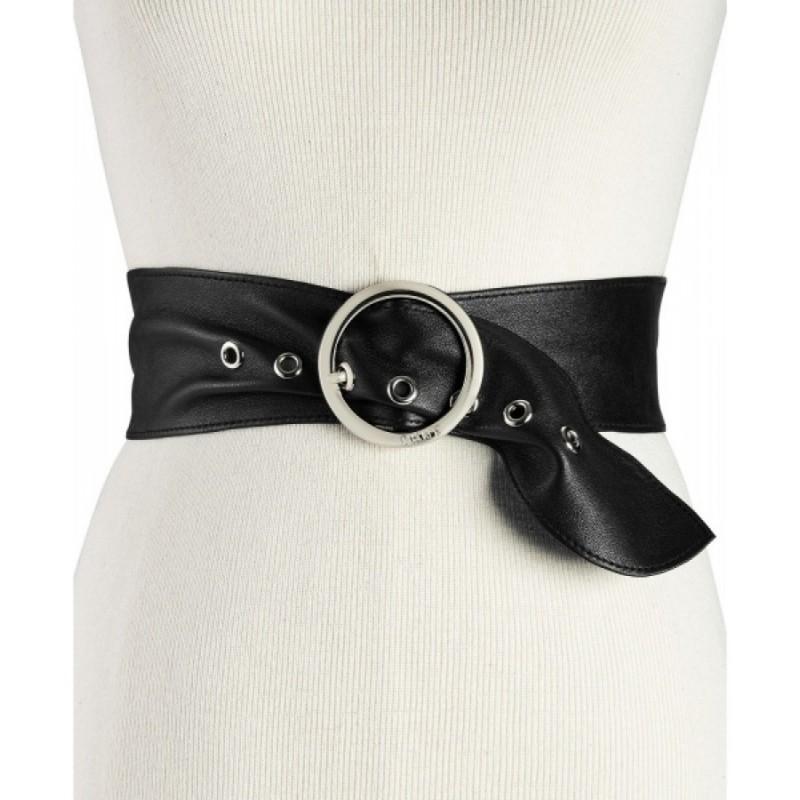 Черный кожаный пояс DKNY