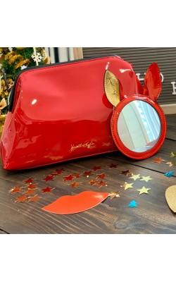 Красная косметичка с зеркалом Kendall +Kylie
