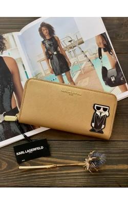 Кошелек Karl Lagerfeld Paris золотой кожаный