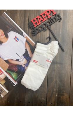 Носки Uniqlo высокие белые в наборе 3 пары