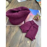 Комплект шарф хомут и рукавицы BP баклажановый