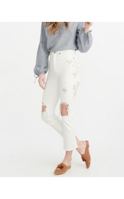 Светлые рваные джинсы с вышивкой Abercrombie & Fitch