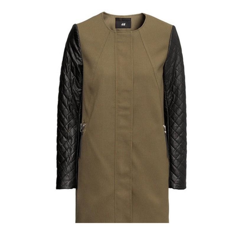 Пальто с рукавами из кожзама H&M