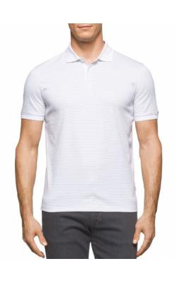Cветлая  футболка-поло в полоску Calvin Klein