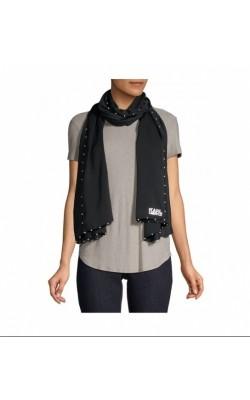 Черный шарф с жемчужинами Karl Lagerfeld Paris