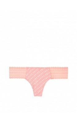 Ярко-оранжевые ажурные  стринги PINK by Victoria's Secret