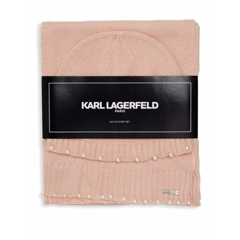 Пудровый комплект шарф+ шапка   Karl Lagerfeld Paris