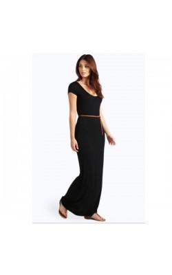 Черное макси-платье BooHoo