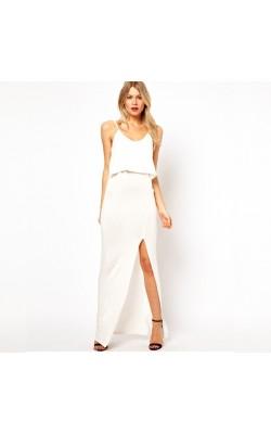 Белое макси платье Love