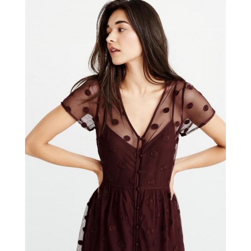 Бордовое макси платье Abercrombie & Fitch