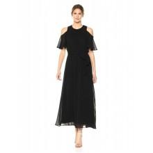 Черное макси платье с открытыми плечами  Calvin Klein