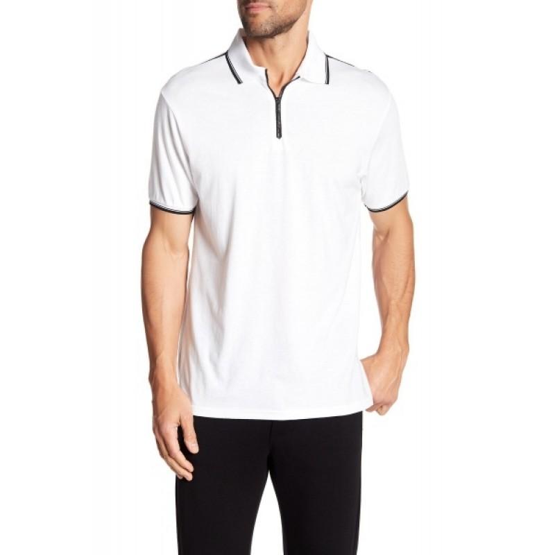 Белая футболка поло на молнии Karl Lagerfeld Paris