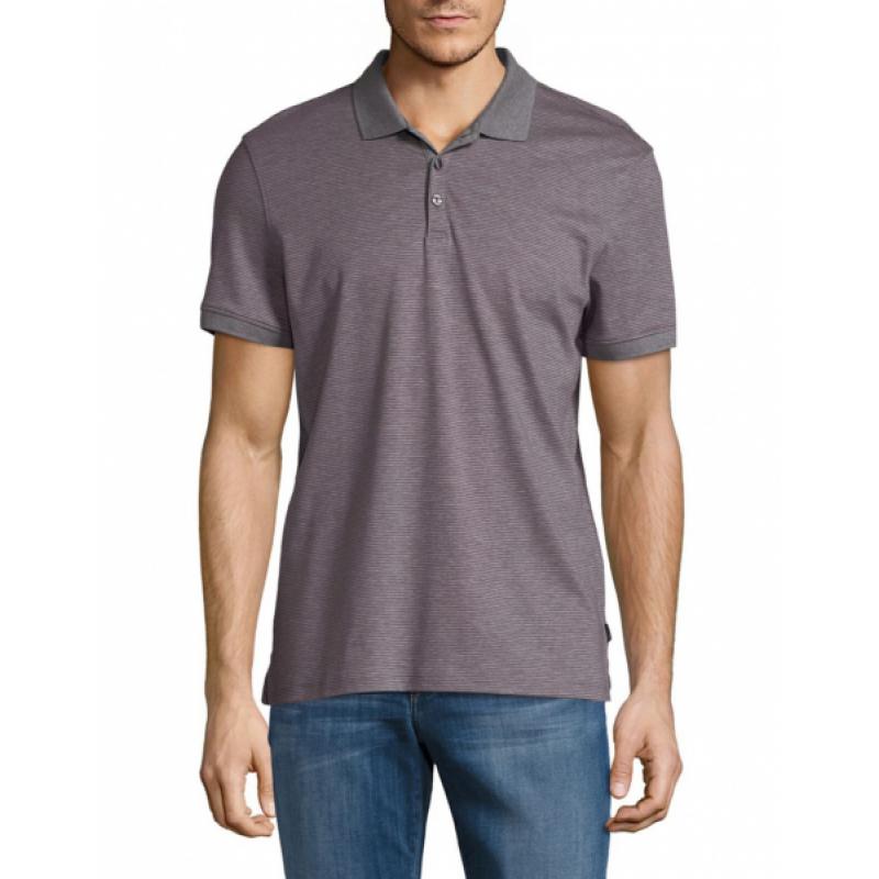 Фиолетово-серая футболка-поло в полоску Calvin Klein
