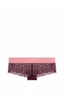 Бордовые ажурные трусики PINK by Victoria's Secret
