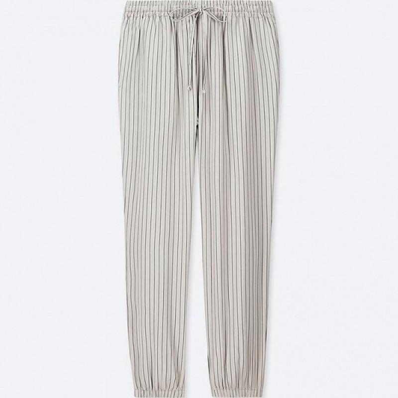 Серые брюки в полоску Uniqlo