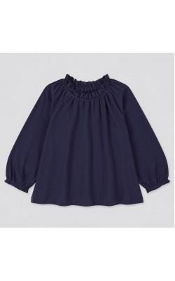 Кофта Uniqlo темно-синяя на девочку с кружевным воротничком