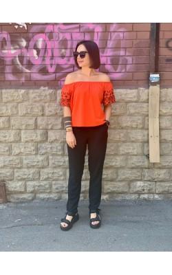 Оранжевый топ со спущенными плечами H&M