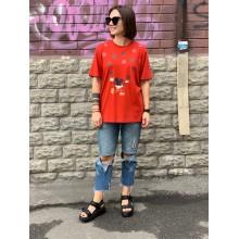 """Оранжевая футболка  """"Mickey Mouse"""" Uniqlo"""