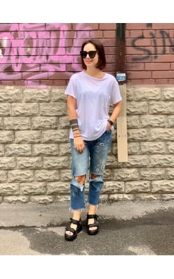 Белая льняная футболка Abercrombie & Fitch