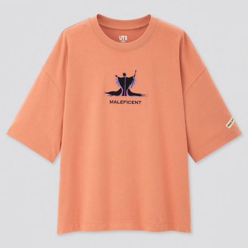 "Футболка ""DISNEY PRINCESSES & VILLAINS"" Uniqlo UT светло-оранжевая"