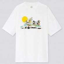 "Женская белая футболка ""Mickey Aloha"" Uniqlo"