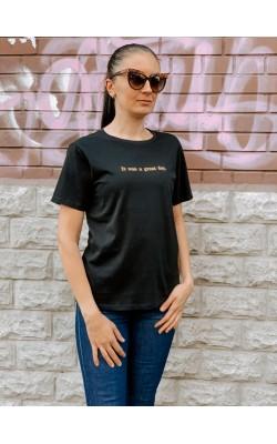 """Женская черная футболка """"Disney Stories"""" Uniqlo"""