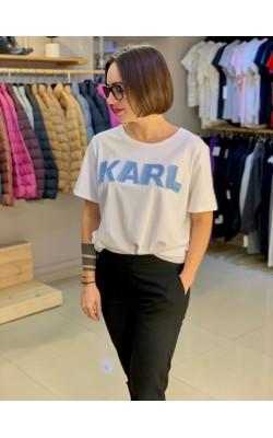 Белая футболка с логотипом Karl Lagerfeld Paris