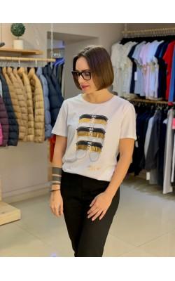Белая футболка с принтом Karl Lagerfeld