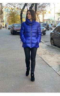Синий пуховик с объемным воротом Karl Lagerfeld Paris