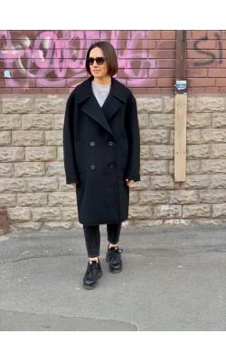 Черное шерстяное пальто Uniqlo