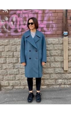 Голубое шерстяное пальто Uniqlo