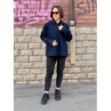 Темно-синее шерстяное пальто Abercrombie & Fitch
