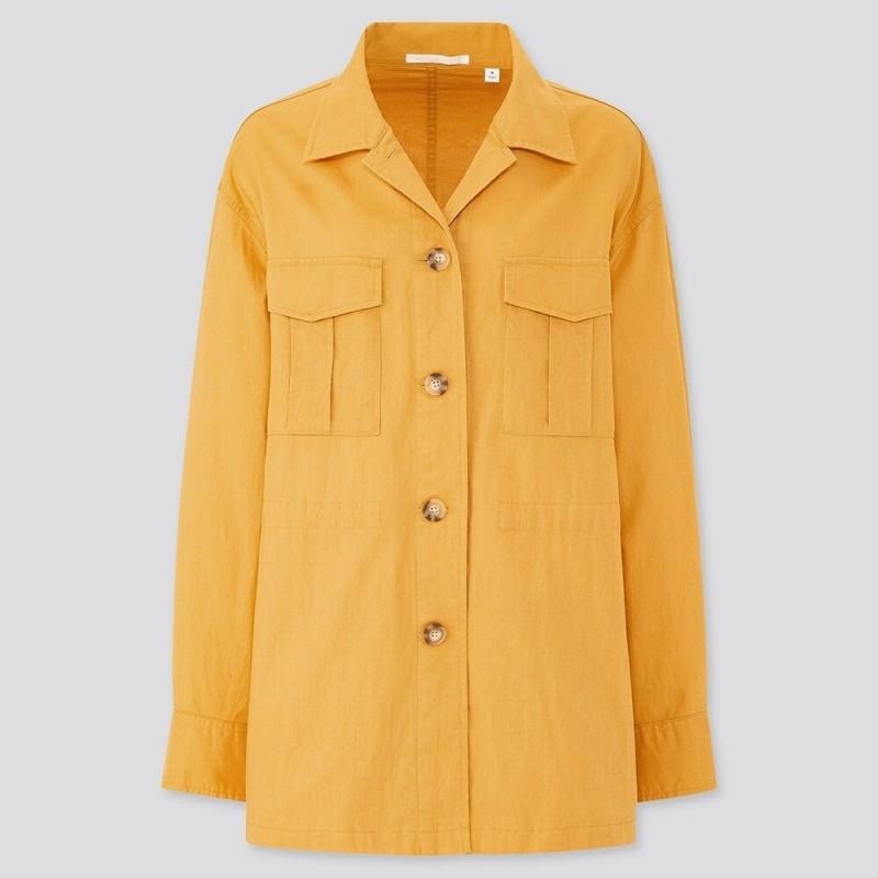 Желтый льняной жакет Uniqlo