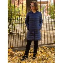 Темно-синее ультралегкое пальто на пуху Uniqlo