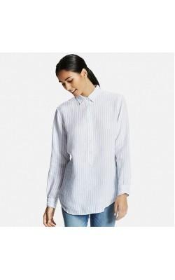 Белая льняная рубашка в полоску Uniqlo