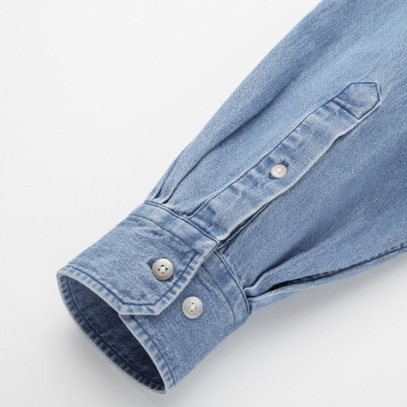 Джинсовая синяя oversize рубашка Uniqlo U