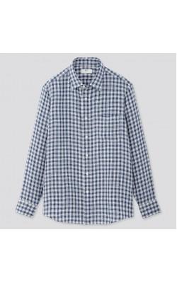Синяя льняная рубашка в клетку Uniqlo
