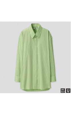 Салатовая в полоску oversize рубашка в полоску Uniqlo U