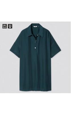 Рубашка-туника oversize Uniqlo U темно-зеленая