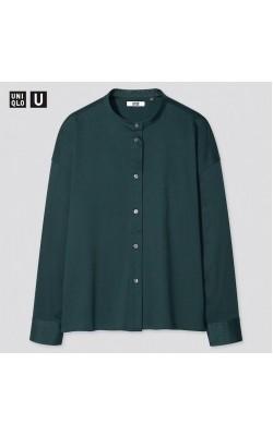 Рубашка темно-зеленая хлопковая Uniqlo