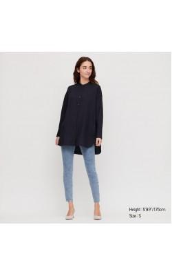 Рубашка Uniqlo U темно-серая оversized