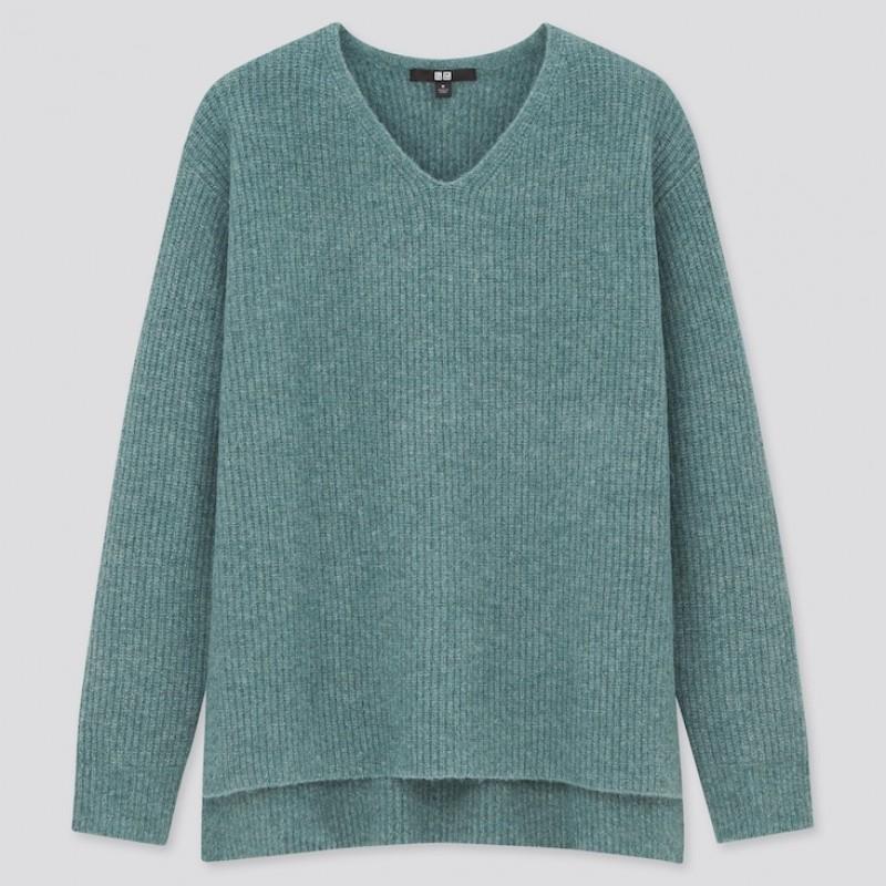 Свитер мягкий шерстяной Uniqlo зеленый