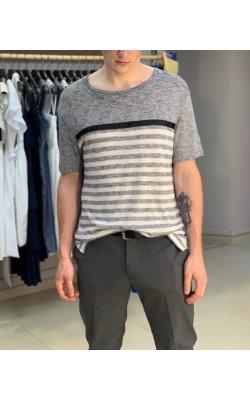Серая льняная футболка Karl Lagerfeld Paris