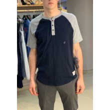 Синяя футболка на пуговицах Abercrombie & Fitch