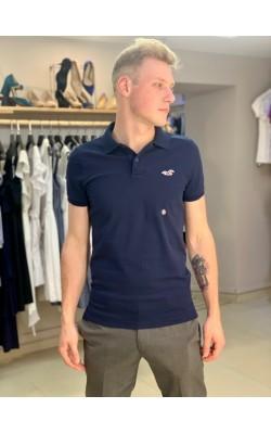 Темно-синяя футболка-поло Hollister