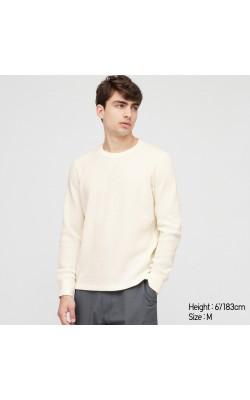 Белая вафельная кофта Uniqlo