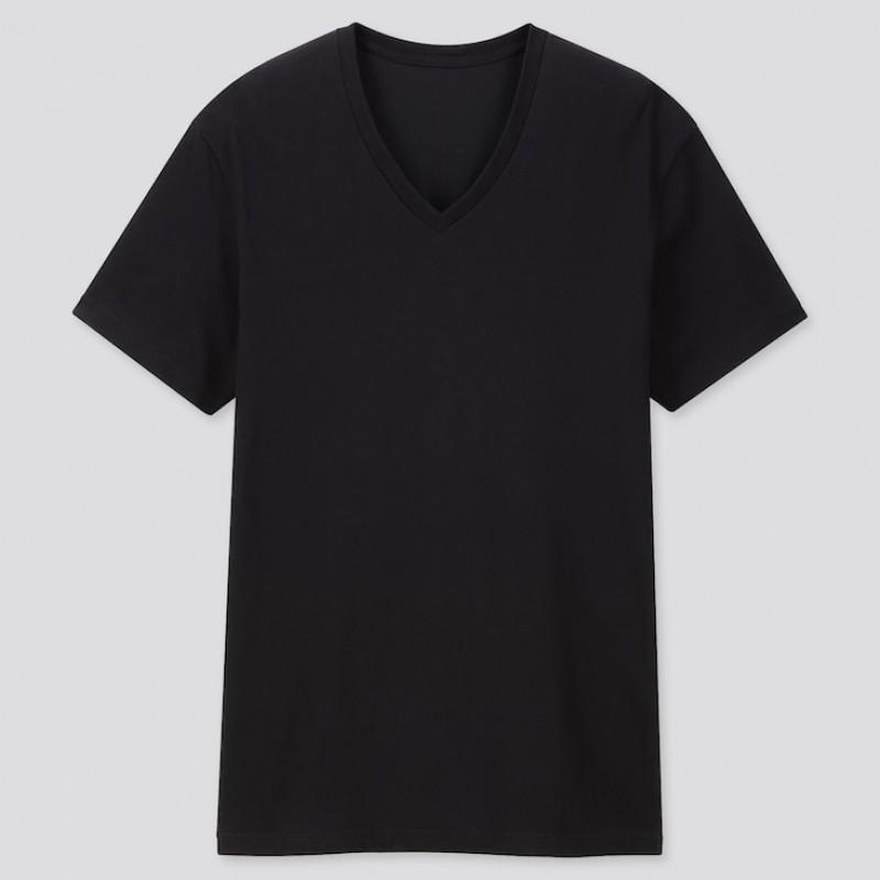 Черная V-neck футболка Uniqlo