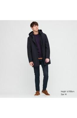 Пуховое пальто Uniqlo темно-синее