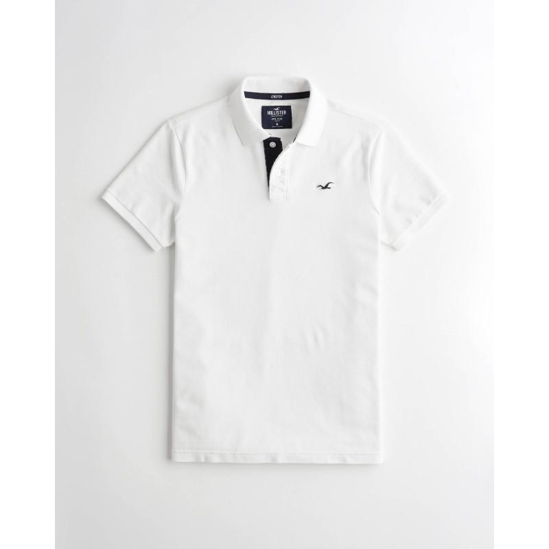 Белая футболка-поло Hollister