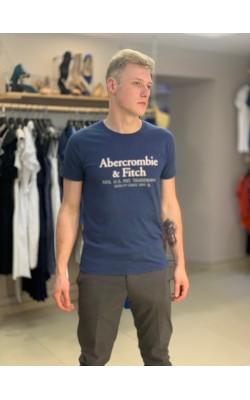 Синяя футболка с логотипом Abercrombie&Fitch